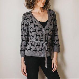 Deer Pattern Angora/Lambswool Blend Sweater